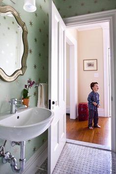 Wall mount sink, slab thresh hold, wallpaper :)