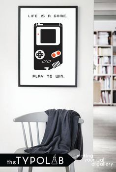 Typography Poster Art Print/ Life is a Game. Play to by theTypolab Typography Poster, Classy Women, Gallery Wall, Play, Art Prints, Game, Woman, Handmade Gifts, Kids