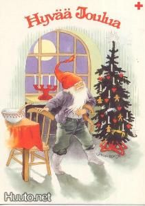 Inge Löök - Tonttu tuvassa,joulukuusi - 0.7 € - Signeeratut taiteilijakortit - Postikortit - Keräily - Huuto.net - (avoin)