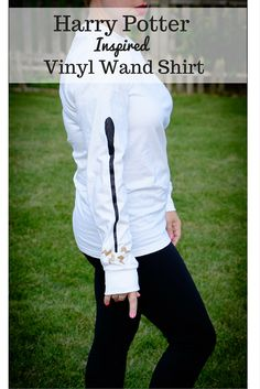 Harry Potter Inspired Vinyl Wand Shirt made with a Cricut cutter and glitter heat transfer vinyl.