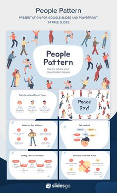 Edit and download now this People Pattern presentation full of illustrations! Available as Google Slides theme or PowerPoint template Ppt Template Design, Free Ppt Template, Ppt Design, Layout Design, Graphic Design, Powerpoint Slide Designs, Powerpoint Themes, Portfolio Book, Portfolio Layout