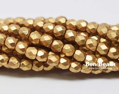 3mm Aztec Gold  Round Fire Polished @ www.bonbeads.com