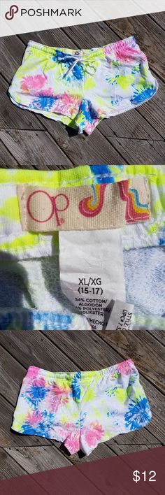 OP Neon Tie Dye Vibrant Shorts Size XL Pink Blue OP brand  Neon tie dye shorts!  They are very vibrant!  women's size XL pink blue yellow & white OP Shorts