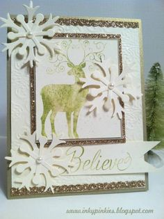 Christmas Deer Baby Wipe Ink Pad Technique by gidgetmd - Cards and Paper Crafts at Splitcoaststampers