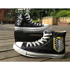 Attack On Titan Anime Converse Hand Painted High Top Black Shoes