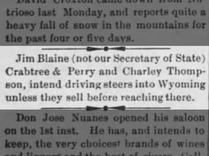 Charley Thompson driving cattle to Wyoming. Article from the St Johns Herald dated 7 Apr 1892. Arizona