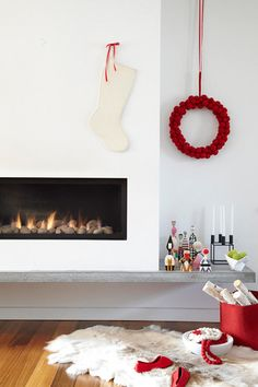 White and Cement Moder Fireplace Mantle Christmas