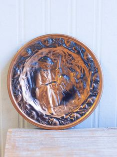Vintage Copper wall plate with Hunter and Hunting Dog, Rustic Home Country Charm,