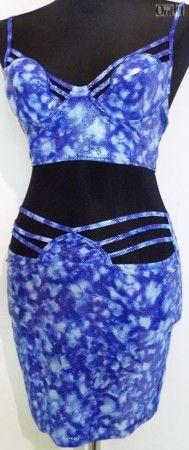 1 szett 2darabos, LIEBLEIN beach ruha, kék, S-M méretben, melltartó és szoknya, ellasztikus anyagból