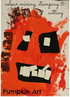 Easy pumpkin art project for toddlers and preschoolers - painting, colour mixing, stamping, cutting and gluing. - Happy Hooligans