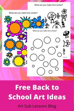 """Elementary, middle school or high school kids would have fun with these art lesson ideas. Homeschoolers too! Parents, teachers or subs could lead this. Simple supplies. """"What Can You Make from a Circle Shape?"""" Back To School Art Activity, Middle School Art, Art School, School Kids, High School, Art Sub Plans, Art Lesson Plans, Circle Art, Circle Shape"""