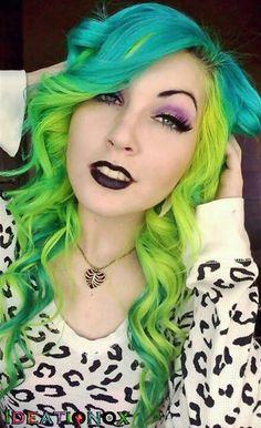 Neon Green Yellow Blue Hair Curling Wand Curls