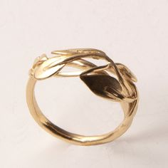 Leaves+Ring+No2++14K+Gold+Ring+unisex+ring+wedding+by+doronmerav,+$365.00