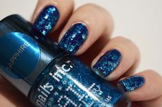 Nails Inc Nail jewellery Sapphire (1 coat over Nails Inc Old Bond Street)