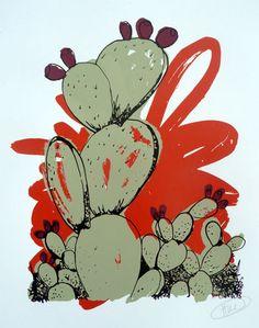 Fantastic Cactus: Screen Print Paper