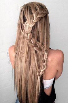 braided hair styles #2017   #waterfall braid   half up half down   girls   prom   blonde   highlights   straight hair #UrbanHairstylesForWomen