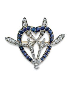 A Gold, Platinum, Sapphire and Diamond Brooch By Fabergé, apparently unmarked… Victorian Jewelry, Antique Jewelry, Vintage Jewelry, Bijoux Art Deco, Art Nouveau Jewelry, Diamond Brooch, Art Deco Diamond, Famous Jewelers, Faberge Jewelry