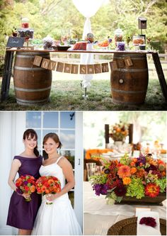 dessert bar with wine barrels and a fun laundry line