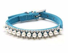 coleira para cães em couro azul com pérolas 30 cm