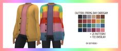500 Followers 🎉 Spring Day Cardigan Recolours mesh by @casteru required HERE (tysm for the psd!!) 21 patterned recolours with various colour tees 24 solid colours from @double-plumbob Autumn Shade...