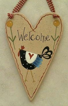 Pattern by Shara Reiner painted by me by meredith Primitive Wood Crafts, Primitive Painting, Country Primitive, Painting On Wood, Arte Country, Country Crafts, Country Decor, Country Signs, Tole Decorative Paintings