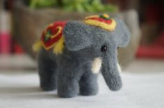 Wool Felted Indian Elephant Animal with Red Tapestry cover and tassels. CUTE. Bibubibu