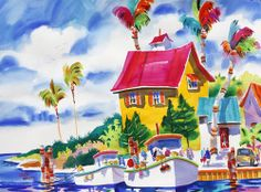 Yellow House ~ Ellen Negley, watercolor