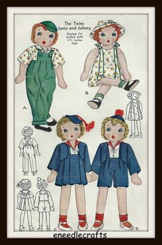 Vintage Cloth Doll Pattern - Twins Janie And Johnny - 11 1/2 Inches High - Outfits Included - On PDF by eNeedlecrafts on Etsy https://www.etsy.com/listing/235446708/vintage-cloth-doll-pattern-twins-janie