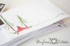 Camping birthday invitations - scribble scene onto plain envelopes