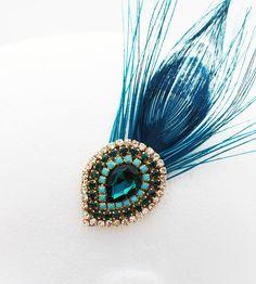 Rhinestone Peacock Feather Hair Clip in Teal. $55.00, via Etsy.
