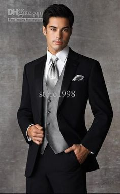 BLACK TUXEDO WITH VEST AND GREY UNDERSHIRT AND TEAL TIE - Google Search