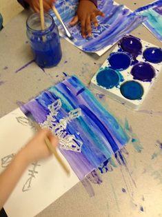 Christmas art lessons snowflake resist - kindergarten assessment on vertical, horizontal, diagonal line and geometric shape Winter Art Projects, Winter Project, Projects For Kids, Crafts For Kids, Arts And Crafts, Christmas Art Projects, Winter Craft, Kids Diy, Grade 1 Art