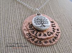 Hand Stamped Jewelry  Personalized Tree of by MotherDaughterJewel, $42.00