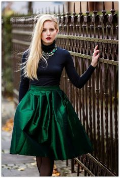 emerald green skirt | Color Story : Emerald Green