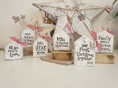 Your place to buy and sell all things handmade Rustic Crafts, Diy Home Crafts, Wooden Crafts, Christmas Crafts, Cottage Christmas, Christmas Wood, Homemade Christmas, Wooden Cottage, Wooden Hut