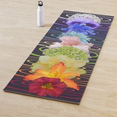 Get your yoga routine down with this Chakra Flowers Yoga Mat. Features all Chakra colors in alignment with flowers and colored auras to match. Easy Meditation, Meditation Benefits, Meditation Symbols, Yoga Benefits, Yoga For Balance, Chakra Colors, Yoga Positions, Yoga Gifts, Meditation Techniques