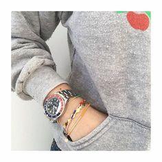 Cute combo from @hellevp Thanks for sharing your Rorschach bracelet #annilu #lulubadulla #lulu #lulucopenhagen #rolex #hellevp #color #welike #Rorschach #bracelet #contemporary #design #danishdesign #artsy #jewelry #jewellery