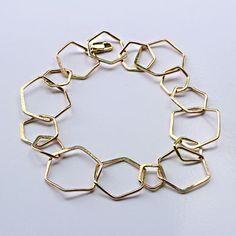 Hexagon Link Bracelet large chain link bracelet by elainebjewelry