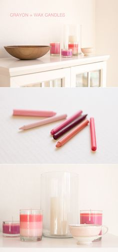+ Wax Candles Create your own custom color candles with this simple crayon and soy wax candle tutorial.Create your own custom color candles with this simple crayon and soy wax candle tutorial. Old Candles, Candle Wax, Soy Wax Candles, Soy Candle, Crayon Candle, Votive Candles, Bath Candles, Pink Candles, Diy Candles Scented