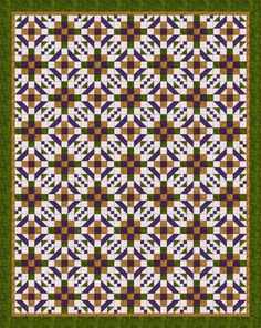 "A Walk Through the Maze is a free quilt pattern designed with two traditional quilt blocks that form a circular ""walkway"" across the quilt."