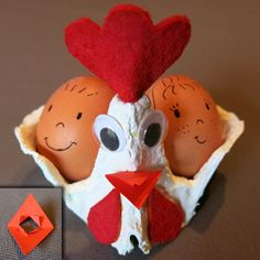 Activité de Pâques : une belle poulette avec une boîte à oeufs Une déco de Pâques amusante avec cette petite poulette de Pâques (ou plusieurs), prête à accueillir deux beaux œufs, qu'ils soient en chocolat ou déguisés ! Les enfants peuvent également y glisser une étiquette pour la transformer en marque-place original.