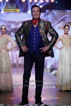 """AMIR ADNAN BRIDAL COLLECTION AT BRIDAL COUTURE WEEK GOLD '16 Representing threads of history and monarchy, Amir Adnan is showcasing his """"Ceremony Collection"""" at Bridal Couture Week 2016. The collection encapsulates statement jackets and sherwanis paired with Jodhpur-eque pajamas and gathered, tucked and rumpled luxurious shalwars. The collection is a tasteful ode to classical tailoring and royal romance that is communicated through its bright game of tones. Amir Adnan's coll... Mens Sherwani, Couture Week, Jodhpur, Groom Dress, Bridal Collection, Statement Jackets, Vogue, Mens Fashion, Indian"""
