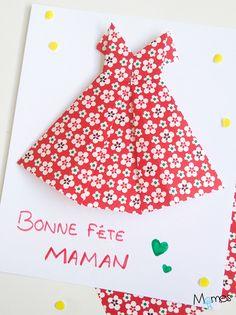 Carte fête des mères : une robe en origami