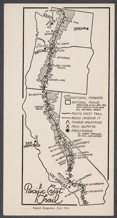 Pacific Crest Trail Map 1936 I would love to frame this and put it up! I love the west coast. Pacific Coast Trail, Pacific Northwest, Backpacking Trails, Hiking Trails, Camping Gear, Motorcycle Camping, California Map, Appalachian Trail, Pct Trail
