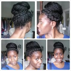 Bun with a wrap-around braid Afro Braids, Twist Braids, Box Braids Updo, African Braids, Plaits, Twists, Natural Braids, Natural Hair Tips, Natural Hair Styles