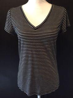 Paige Small VNeck TShirt Black Gray Stripe V-Neck Tee Size Small  #PaigeDenim #TeeShirt #Casual