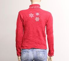 Red Christmas Sweater with Cute Snowman. Vintage Christmas Sweaters, Vintage Sweaters, Red Sweaters, Ugly Christmas Sweater, Sweaters For Women, Lace Denim Shorts, Vintage Outfits, Vintage Fashion, Red Christmas
