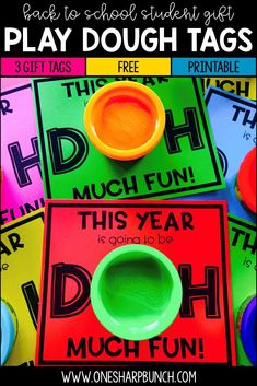 Grab these FREE play dough gift tags for an affordable and non-edible back to school student gift idea! It's perfect for meet the teacher and open house night, as well as for calming those first… More