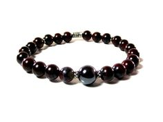 Men's Red and Gray Bracelet Featuring Red Tiger's Iron and Hematite by Designed By Audrey, $27.00