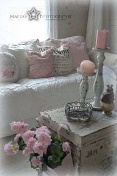 This Shabby Chic Sweet Vignette is Filled with DIY Decor Ideas! See More at thefrenchinspiredroom.com